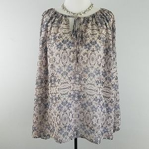 CAbi XS sheer floral tunic long sleeve